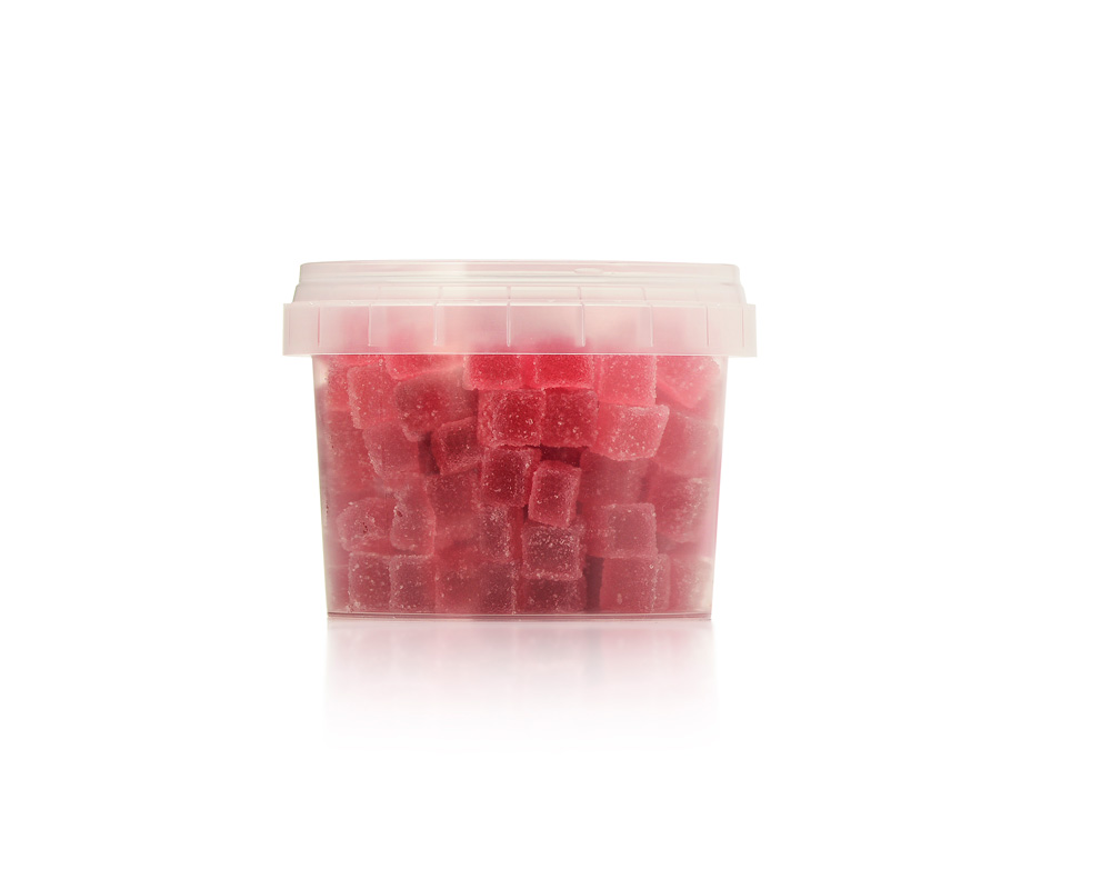 Home baking; blackcurrant jelly cubes