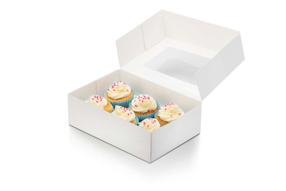 Baking Agent white cupcake box