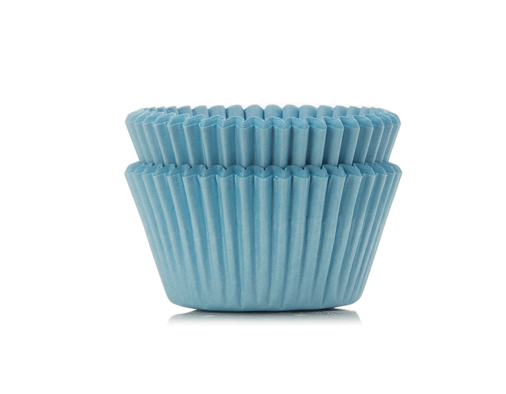 Home baking accessories; pale blue cupcake cases